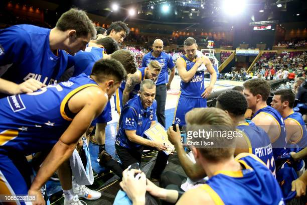 Bullets coach Andrej Lemanis talks to players during the round 10 NBL match between the Brisbane Bullets and the Perth Wildcats at Brisbane...