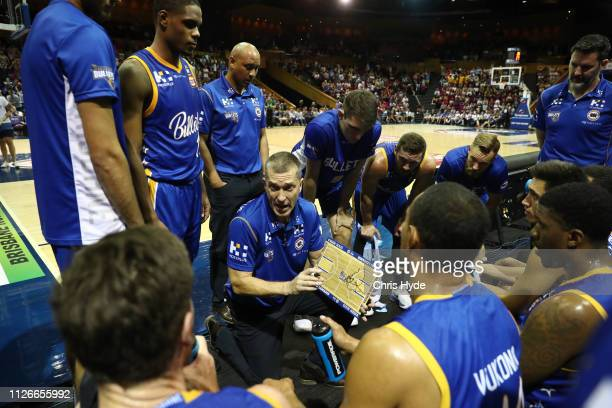 Bullets coach Andrej Lemanis talks to players during the round 16 NBL match between the Brisbane Bullets and the Sydney Kings at Brisbane Convention...