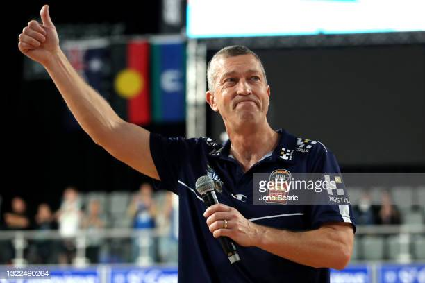 Bullets coach Andrej Lemanis thanks the crowd after his last game as coach, during the round 21 NBL match between the Brisbane Bullets and the South...