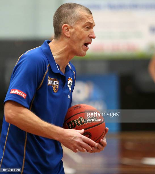 Bullets coach Andrej Lemanis yells out during a Brisbane Bullets NBL training session on August 7 2018 in Brisbane Australia