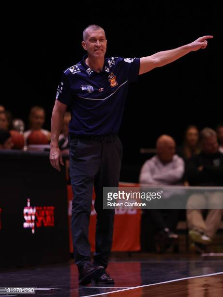 Bullets coach, Andrej Lemanisgestures during the round 14 NBL match between the New Zealand Breakers and the Brisbane Bullets at the Silverdome, on...