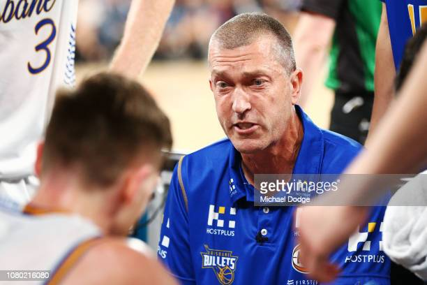 Bullets head coach Andrej Lemanis speaks to his players during the round eight NBL match between Melbourne United and the Brisbane Bullets at Hisense...