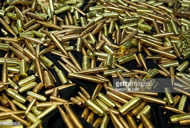 Bullets on display at the143rd NRA Annual Meetings and Exhibits at the Indiana Convention Center in Indianapolis Indiana on April 25 2014 AFP PHOTO /...