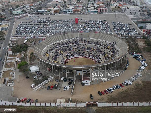 Bullfight at Plaza Monumantal in Tijuana, Mexico. I used a kite to fly the camera. The U.S. / Mexico border is just off the bottom-edge of the...