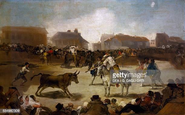 Bullfight in a village 18081812 by Francisco de Goya oil on canvas 45x72 cm Spain 19th century Madrid Real Academia De Bellas Artes De San Fernando