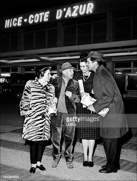 Bullfighter and movie actor Luis Miguel Dominguin his wife Italian actress Lucia Bose are welcomed 13 December 1963 at the Nice airport by Spanish...