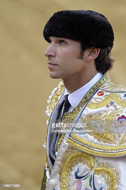 Bullfighter Cayetano Rivera is seen during a bullfighting event watched by his girlfriend Eva Gonzalez on July 8 2012 in Estepona Spain