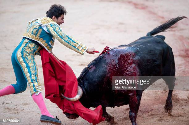 Bullfighter Cayetano Rivera Ordonez performs during a bullfight as part of the sixth day of the San Fermin Running of the Bulls Festival on July 11...