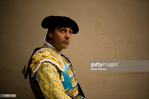 Bullfighter Enrique Ponce of Spain looks on before the third bullfight of the 2011 season at the Monumental bullring on July 17 2011 in Barcelona...