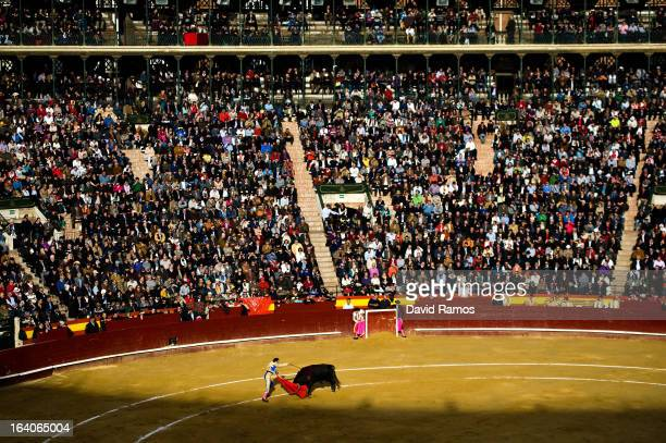 Bullfighter Enrique Ponce performs during a bullfight as part of the Las Fallas Festival on March 19 2013 in Valencia Spain The Fallas festival which...