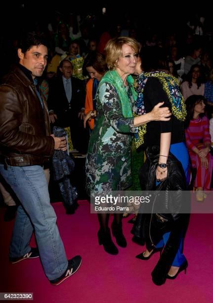 Bullfighter Francisco Rivera Esperanza Aguirre and Lourdes Montes attend the front row of Agatha Ruiz de la Prada show during Mercedes Benz Fashion...