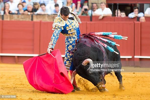 Bullfighter Jose Mari Manzanares performs during San Miguel Fair on September 25 2016 in Seville Spain