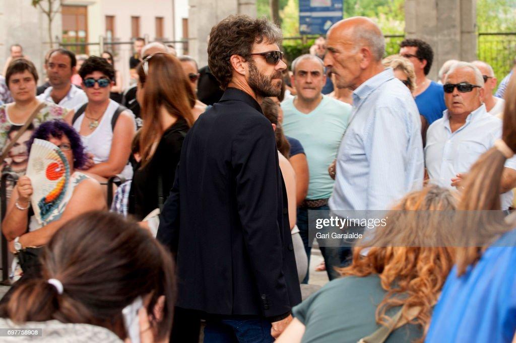 Bullfighter Jose Tomas (C) attends the funeral for bullfighter Ivan Fandino on June 19, 2017 in Orduna, Spain.
