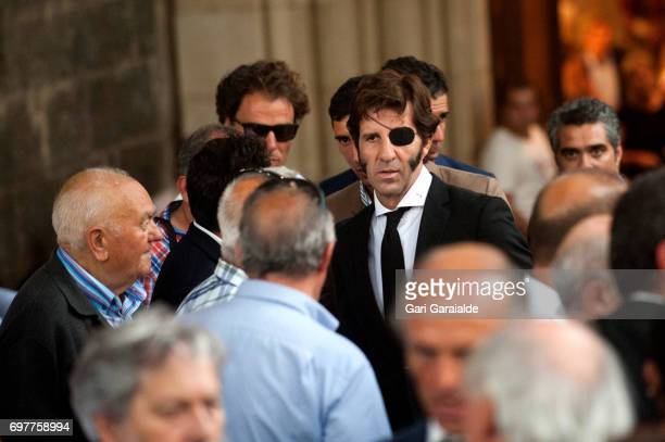 Bullfighter Juan Jose Padilla attends the funeral for bullfighter Ivan Fandino on June 19 2017 in Orduna Spain