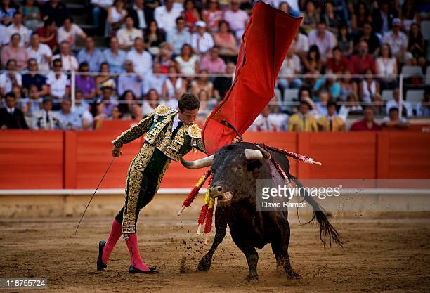 Bullfighter Julian Lopez 'El Juli' of Spain performs during the second bullfight of the 2011 season at the Monumental bullring on July 10 2011 in...