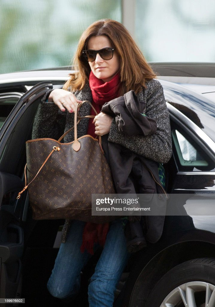 Bullfighter Julian Lopez's wife Rosario Domecq is seen arriving at Ruber International Hospital on January 23, 2013 in Madrid, Spain. They decided to go to this Hospital after they and their twin-babies were involved in a car accident.