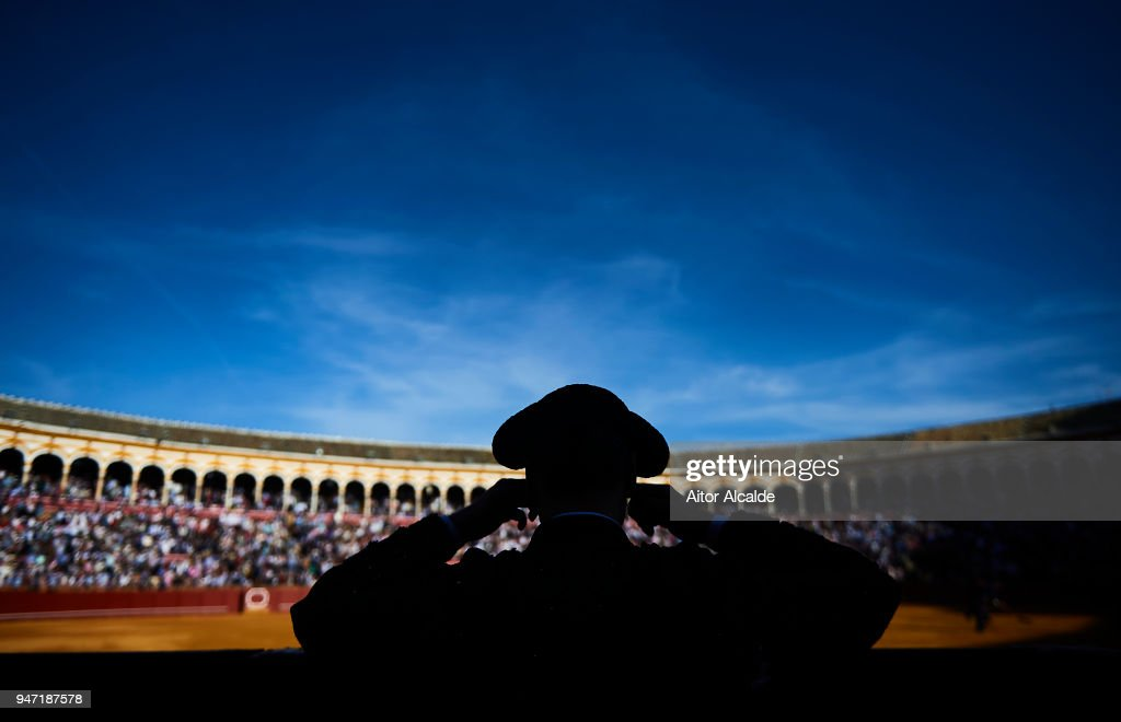 Bullfighter looks on during the Feria de Abril Bullfight at La Maestranza on April 16, 2018 in Seville, Spain.