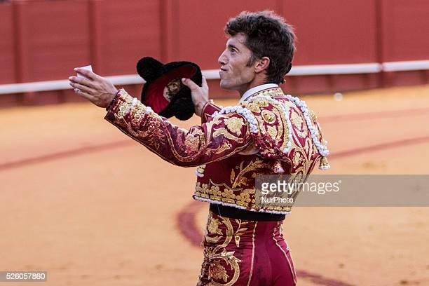 Bullfighter Manuel Escribano celebrates after win an ear during a bullfight of the quotFeria de Abrilquot celebrated at Real Maestranza de Sevilla...
