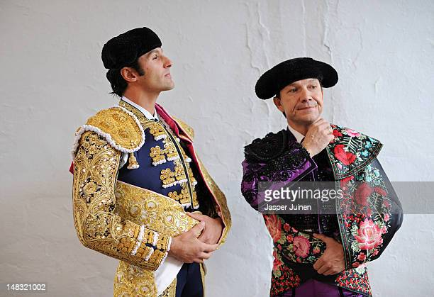 Bullfighter of Spain waits before entering the bullring for a bullfight on the fourth day of the San Fermin runningofthebulls on July 10 2012 in...