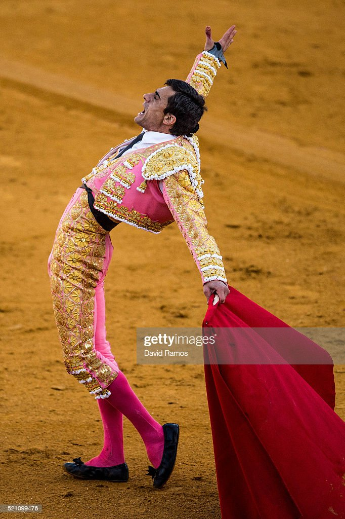 Bullfighter Paco Urena performs with a Vitorino Martin ranch fighting bull during a bullfight at La Maestranza bullring on the second day of the Feria de Abril (April's Fair) on April 13, 2016 in Seville, Spain. The Feria de Abril, which has a history dating back to 1857, takes place a fortnight after Easter each year. The origin of the fair was a cattle market but the event quickly turned its goal from commerce to having fun. More than one million local and international participants are expected to attend to Feria de Abril.