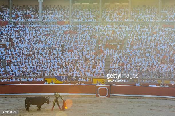 Bullfighter Pepe Moral performs during a bullfight as part of the second day of the San Fermin Running of the Bulls festival on July 7 2015 in...