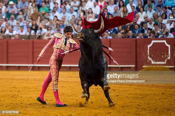 Bullfighter Sebastian Castella performs during San Miguel Fair on September 25 2016 in Seville Spain