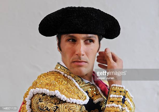 Bullfighter waits before entering the bullring for a bullfight on the fourth day of the San Fermin runningofthebulls on July 10 2012 in Pamplona Spain