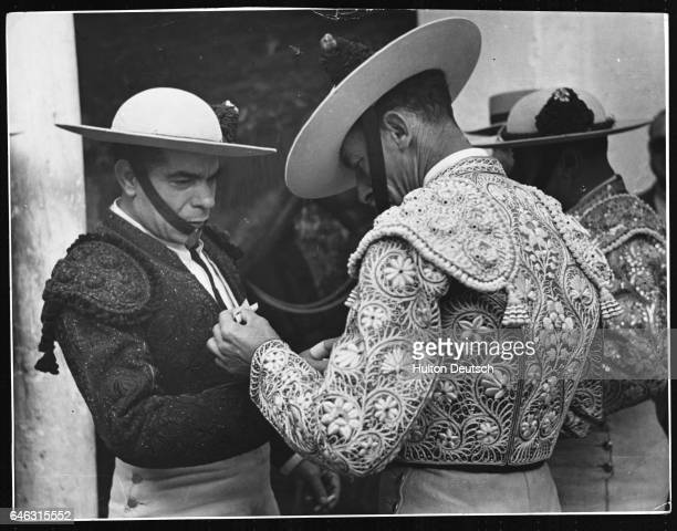 Bullfighters in Spain preparing for a fight in 1951