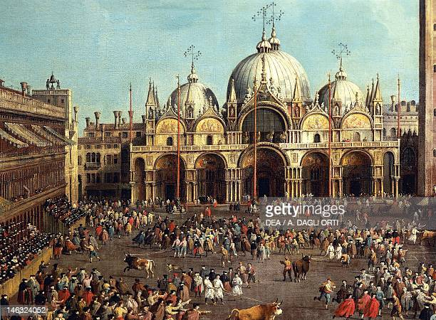 Bullfighting or Bull hunting in Piazza San Marco by Giovanni Antonio Canal known as Canaletto and by Giovanni Battista Cimaroli oil on canvas 99x145...