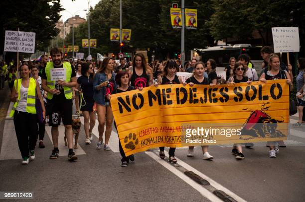 SPAIN PAMPLONA NAVARRA SPAIN Bullfighting protest in the days before the holidays of San Fermin in which there are bullfights for 10 days and in...