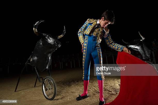 Bullfighting student Carlos Ochoa poses for a portrait at the Marcial Lalanda bullfighting school on October 31 2015 in Madrid Spain The Marcial...