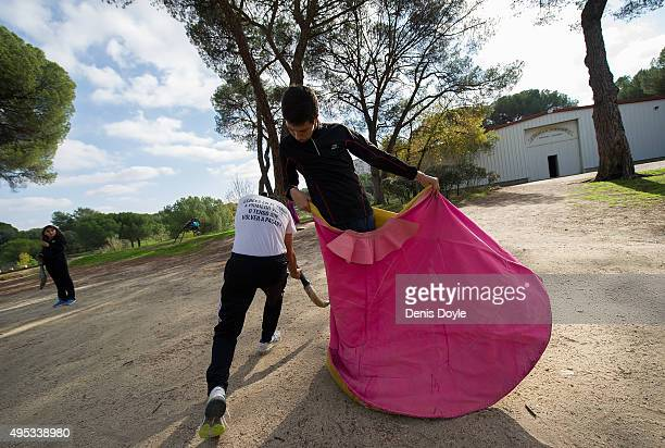 Bullfighting students practice their cape work at the Marcial Lalanda bullfighting school on October 31 2015 in Madrid Spain The Marcial Lalanda...