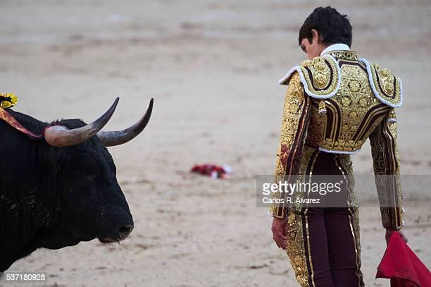 Bullfigther Sebastian Castella performs during the San Isidro bullfight fair at Las Ventas bullring on June 1 2016 in Madrid Spain
