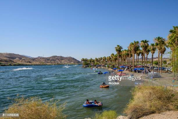 bullhead city in arizona with weekend tourists - lake havasu stock photos and pictures