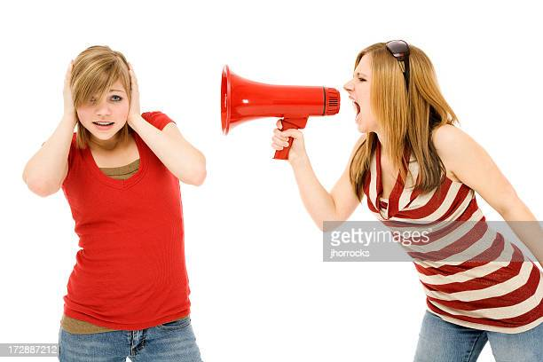 bullhorn bully - girl fight stock photos and pictures