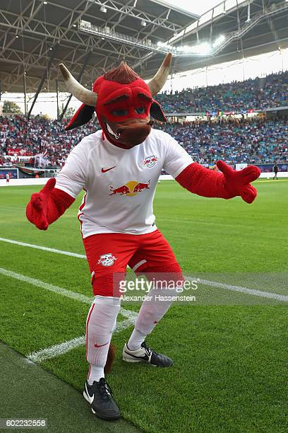 Bulli mascot of Leipzig during the Bundesliga match between RB Leipzig and Borussia Dortmund at Red Bull Arena on September 10 2016 in Leipzig Germany