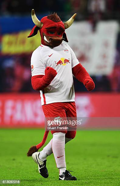 Bulli the mascot of Leipzig gestures during the Bundesliga match between RB Leipzig and FC Augsburg at Red Bull Arena on September 30 2016 in Leipzig...