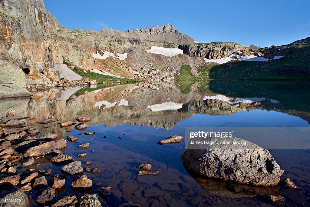 Bullion King Lake at dawn, Porphyry Basin, San Juan National Forest, Colorado, United States of America, North America : Stock Photo