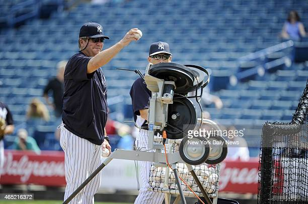 Bullpen Coach Gary Tuck Intrasquad game played with a pitching machine nicknamed 'Iron Mike' Yankees Spring Training George M Steinbrenner Field...