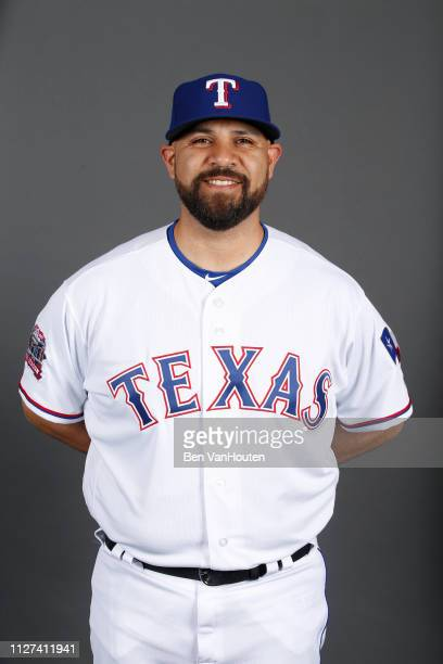 Bullpen Coach Oscar Marin of the Texas Rangers poses during Photo Day on Wednesday February 20 2019 at Surprise Stadium in Surprise Arizona