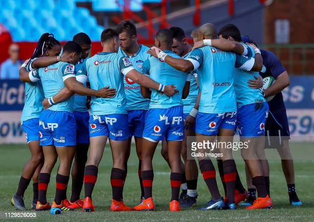Bulls backline warming up during the Super Rugby match between Vodacom Blue Bulls and Cell C Sharks at Loftus Versfeld on March 09, 2019 in Pretoria,...
