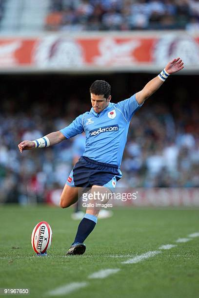 Bulls flyhalf Morne Steyn takes a kick during the Absa Currie Cup semi final match between Western Province and Blue Bulls at Newlands Stadium on the...