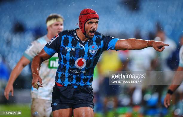 Bulls' Juandre Kruger gestures during the Super Rugby match between Bulls and Blues at Loftus Versfeld in Pretoria on February 22 2020