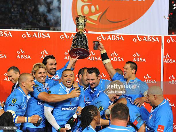Bulls player celebrate with the Trophy during the Absa Currie Cup match between Blue Bulls and Free State Cheetahs from Loftus Versfeld on October...