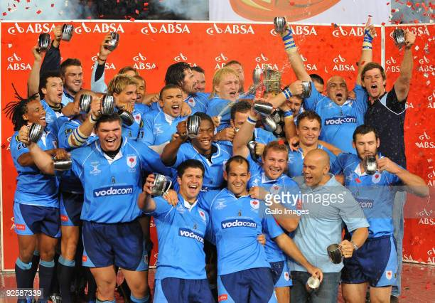 Bulls players celebrate with the Trophy during the Absa Currie Cup match between Blue Bulls and Free State Cheetahs from Loftus Versfeld on October...