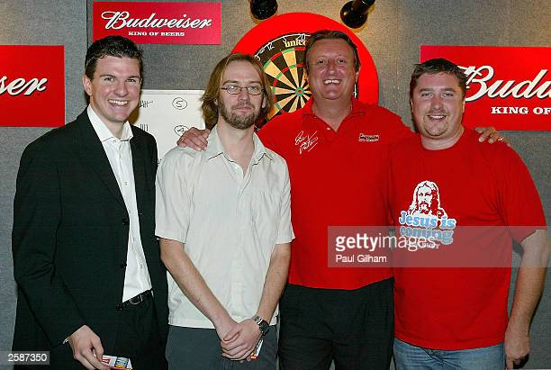 Bullseye competition winners Andy Chiles Stuart Aitken Eric ''The Crafty Cockney'' Bristow and David Croft at the press launch of the Budweiser UK...