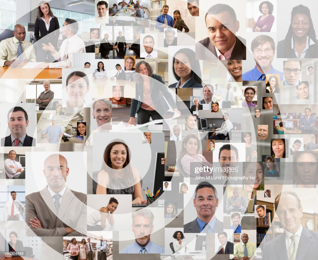 Bull's-eye over collage of people : Stock Photo