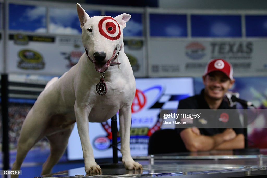 Bullseye, the Target mascot, attends a press conference with Kyle Larson, driver of the #42 Target/Coca-Cola Chevrolet, prior to practice for the NASCAR Sprint Cup Series AAA Texas 500 at Texas Motor Speedway on November 4, 2016 in Fort Worth, Texas.