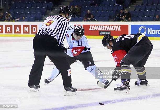 Bully between Andreas Driendl 10 of Krefeld Pinguine and Cory Quirk of Sonderjyske Vojens during the Champions Hockey League group stage game between...