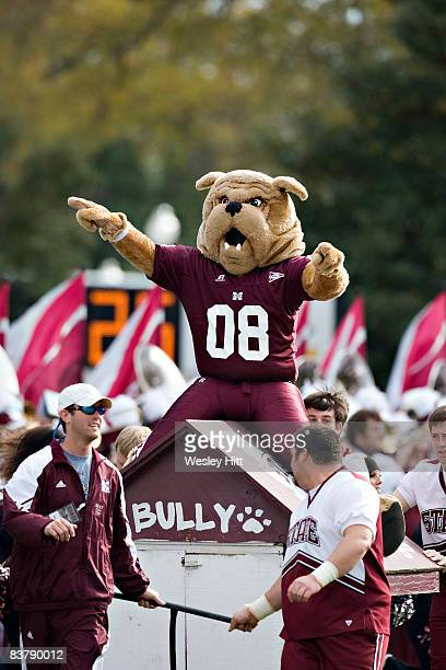 Bully the Mascot of the MIssissippi State Bulldogs rides onto the field before a game against the Arkansas Razorbacks at Davis Wade Stadium on...